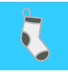 White Christmas stocking on blue background vector image vector image