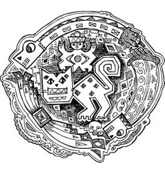 Feline Maya style drawing vector image vector image