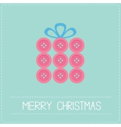 Gift box made from pink buttons Appligue Dash line vector image