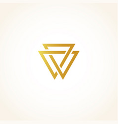isolated abstract golden color triangles contour vector image vector image