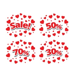 Sale sign over red hearts background vector image
