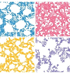 Set of four floral silhouettes seamless patterns vector image vector image