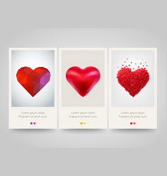 valentines day heart vertical banners love vector image vector image