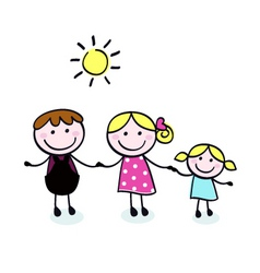 doodle cartoon family vector image vector image