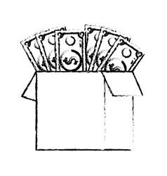 Figure box open with bills dollar vector