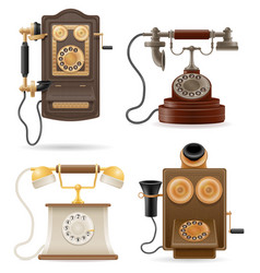 phone old retro set icons stock vector image