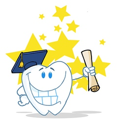 Successful Graduate Tooth Holding A Diploma vector image vector image