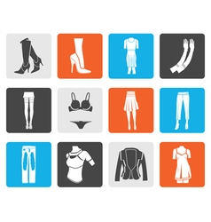 Black woman and female clothes icons vector