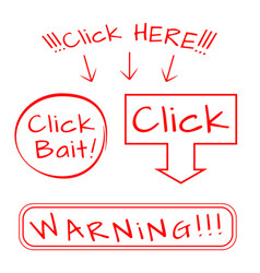 click bait here warning vector image vector image