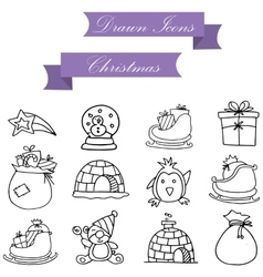 Element holiday chirtmas of icons vector