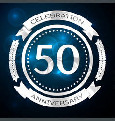 fifty years anniversary celebration with silver vector image vector image