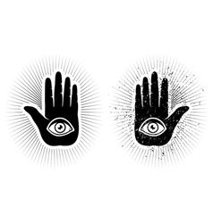 Hand and eye vector image vector image