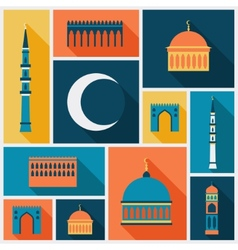 Islamic background with mosque in flat design vector image