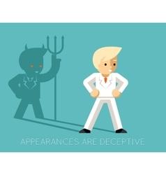 Light businessman and shadow devil Appearances vector image
