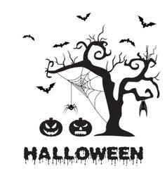 Spooky silhouette of Halloween tree pumpkin vector image vector image