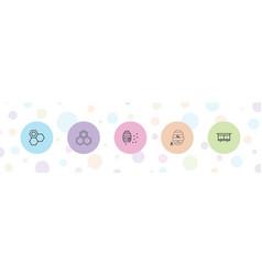 5 honeycomb icons vector