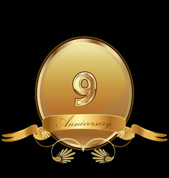9th golden anniversary birthday seal icon vector image