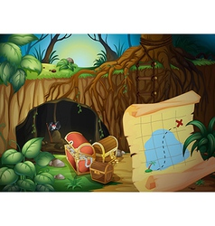 A cave treasure chest and map vector