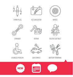 accumulator spanner tool and car service icons vector image