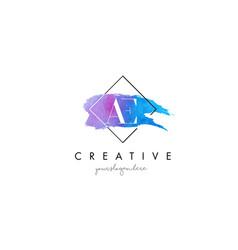 Ae artistic watercolor letter brush logo vector