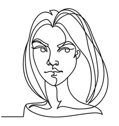 angry woman one line portrait facial expression vector image