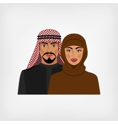 Arab man and woman in traditional clothes vector