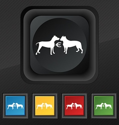 Betting on dog fighting icon symbol set of five vector
