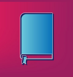book sign blue 3d printed icon on magenta vector image