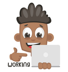 boy working on lap top on white background vector image