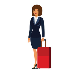 businesswoman in business trip with suitcase vector image