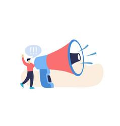 cartoon man and megaphone leadership speech flat vector image