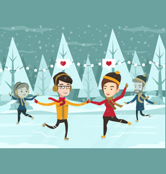 Caucasian white couple skating on ice rink outdoor vector