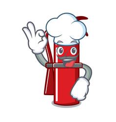 Chef fire extinguisher character cartoon vector