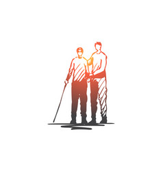 child disabled handicapped crutch vector image