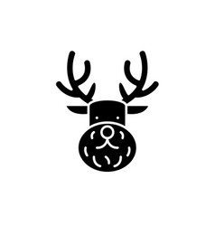 christmas deer black icon sign on isolated vector image