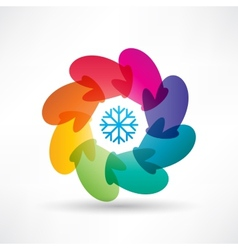 Circle of colored mittens vector image
