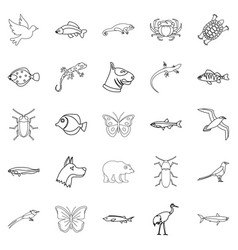 City animals icons set outline style vector