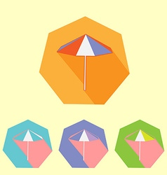 Colorful flat umbrella icon set vector image