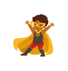 Comic brave black kid in superhero colorful vector