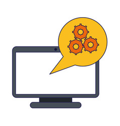 Computer screen with gears in bubble vector
