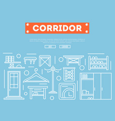 corridor furniture poster in linear style vector image