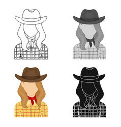 Cowgirl icon in cartoon style isolated on white vector