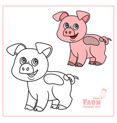cute cartoon pig color and outlined on a white vector image