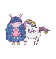 Cute little fairy with unicorn vector