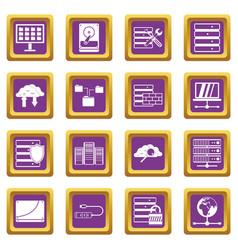 Database icons set purple vector