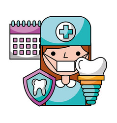 dentist woman tooth implant calendar hygiene vector image