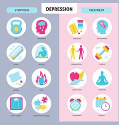 Depression symptoms and treatment icons set vector