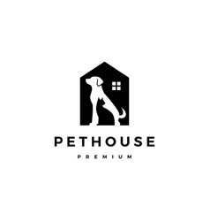 dog cat pet house home logo icon negative space vector image