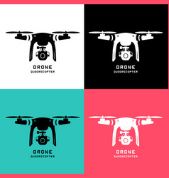 Drone with action camera logo icon pictograph vector