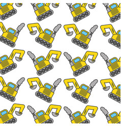 excavator construction vehicle pattern background vector image